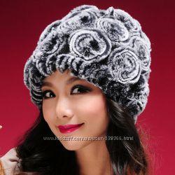 Красивенные женские шапки из меха кролика.