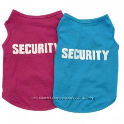 Security, майка футболка из хлопка для собак, котов, щенков, кошек одежда