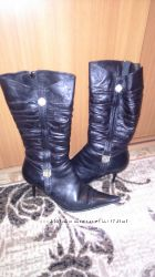 Натуральные кожаные зимние ботинки