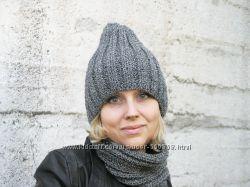 Комплект вязаная шапка и шарф-снуд мериносакрил