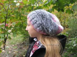 Модная шапка oversize бохо вязаная шапка на заказ шерсть ручная рабо