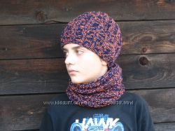 Комплект вязаный шапка и шарф-снуд ручная работа на заказ много расцветок