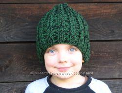 Вязаная детская шапка бини зимняя из мериноса с акрилом теплая на заказ