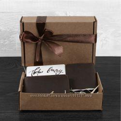 Подарочный набор коричневый портмоне, обложка для прав, ученического, студ