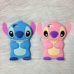 Силиконовый чехол на Iphone 3 3S 4 4S 5 5S 6 6S Стич Розовый и Голубой