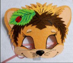 Карнавальная маска детская. Лиса, ежик, медведь, лягушка. Садик, школа