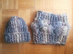 шапка-бини и снуд крупная вязка
