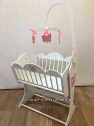 Кукольная кроватка с мобилем Бабочки