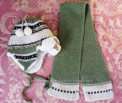 Продам комплект теплющую шапку и шарфик MACHO на мальчика 2-4 годика