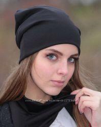 Модная трикотажная  шапка и  шарф хомут. В наличии 8 цветов. Фото в реале.