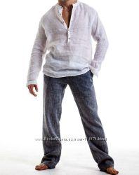 Большой и очень большой размер брюки мужские рубашки из льна