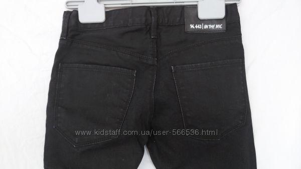 джинсы H&M черные, зауженные, рост 134