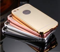Чехол для iphone 5 5S 6 6S 6 Plus 7 7Plus алюминий и зеркальный акрил