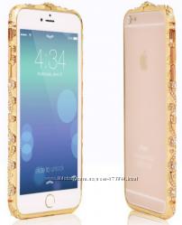 Металлический бампер с камнями Swarovski для IPhone 5 5S 6 6S