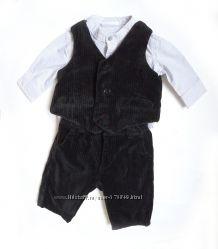 Комплект брюки и жилет для джентельмена, рубашка в подарок, размер 3мес.