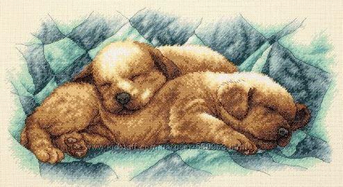Набор для вышивки Dimensions Peaceful Puppies
