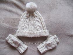 Симпатичный комплект шапка и митенки F&F