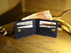 Мужской стильный кошелек из синей натуральной кожи