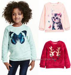 Пушистые плюшевые свитерки H&M, р. 3-6 лет
