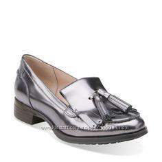CLARKS Busby Folly silver кожа  р. 37, 37. 5, 38. 5, 39, 41
