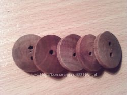 Набор деревянных пуговиц крупных 5 шт