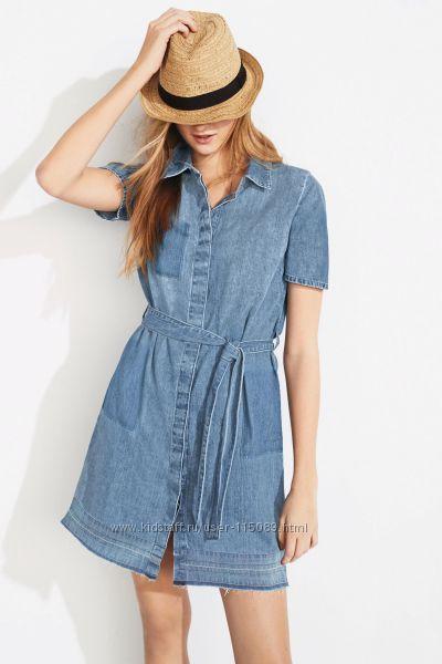 Синее джинсовое платье-рубашка Next