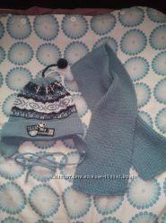 Шапка и шарф детский,  теплый
