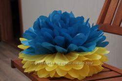 Помпоны бумажные из тишью, гирлянды, цветы