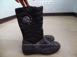 сапоги кожа  21, 5 см детские фиолетовые высокие замша деми сезон
