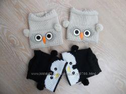 наколенники детские девочке новые сова пингвин беж черные