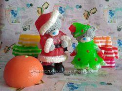 Мыло ручной работы Мишка Тедди елочка и дед мороз.