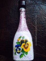 Подарки hand-made в стиле декупаж бутылки для вина, баночки, шкатулки обмен