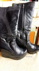 Сапожки зимние кожаные на платформе 36-37р