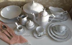 Белый сервиз из фарфора Fine Royal Porcelain Fontina