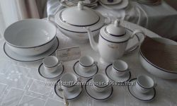 Сервиз столово-кофейный белый фарфор Германия на 6 персон
