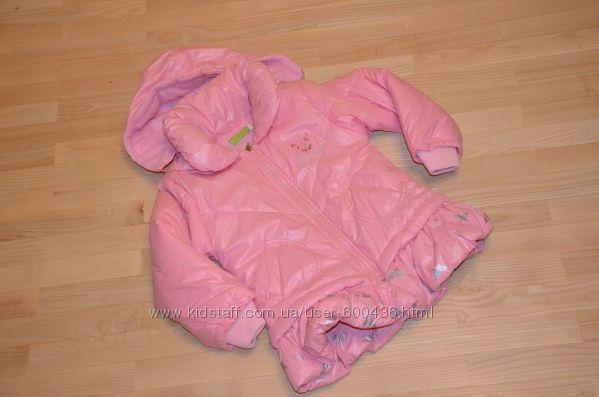 Красивое розовое пальто-куртка на весну, осень110, 116см