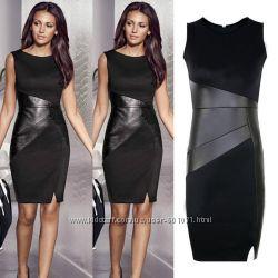 Эффектное новое  платье с кожаными вставками  размеры S, М,  L