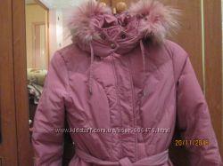 Натуральный розовый пуховик