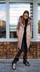 Куртка, пуховик зимний теплый бежевый