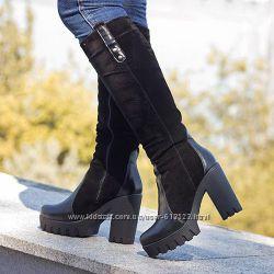 Стильная женская обувь сапоги, ботинки кожазамша