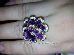 Шикарное кольцо позолота цветные цирконы