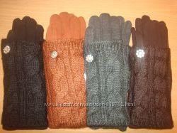 Красивые, теплые перчатки с митенками, в наличии