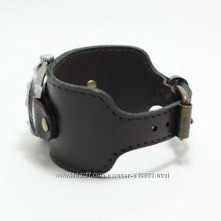 Широкий кожаный браслет для часов