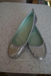 Нарядные балетки в блёстках серебро