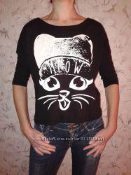 Милая футболочка с котиком, хлопок вискоза, р. ХС, наш 42
