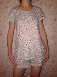 Трикотажная пижамка футболочка шорты, 100  хлопок, ХС наш 42