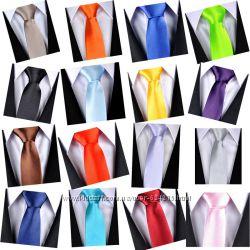 Мега стильные и модные однотонные атласные галстучки для стильных и ярких