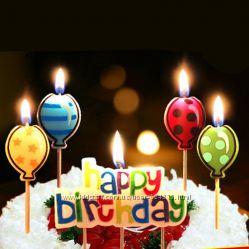 Необычные свечи-таблички Happy Birthday с 4 свечами шариками 3 видов