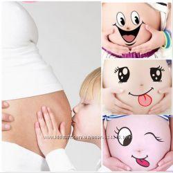 Забавные и креативные наклейки на беременный животик для фотосессии