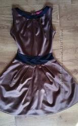 Благородное атласное платье шоколадного цвета ХS